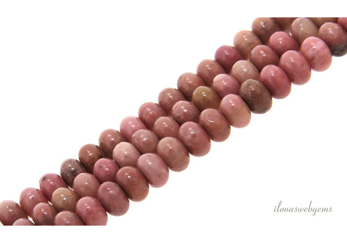 Rhodonite beads roundel about 6.5x4mm