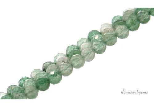 Groene Strawberry quartz kralen rond facet ca. 4.5mm