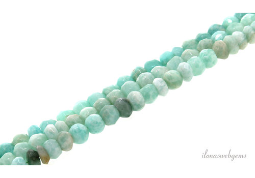 Amazonite beads faceted roundel ascending from approx. 5.5x4 to 8x6mm