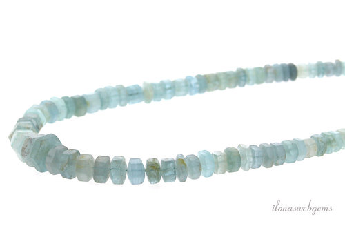 Aquamarine beads faceted roundel up and down from approx. 13x8 by 5x3.5mm