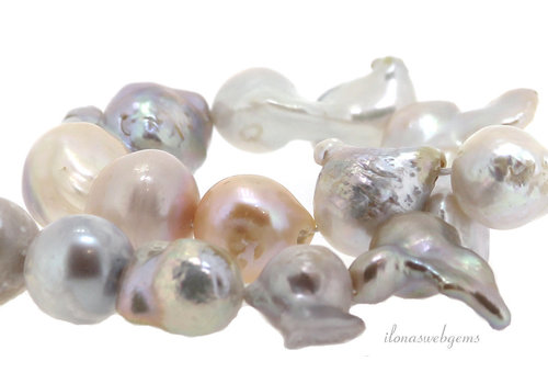 Baroque pearl mix up and down from approx. 12x15 to 17x31mm