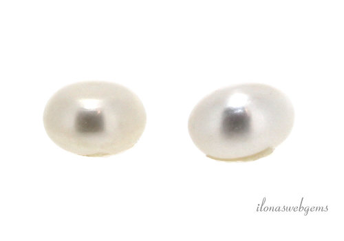 1 pair Freshwater pearls half drilled in large size approx. 13mm
