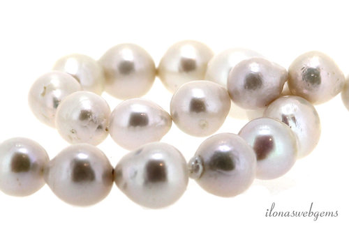 Freshwater pearl white up and down from approx. 10x12 to 20.5x17mm