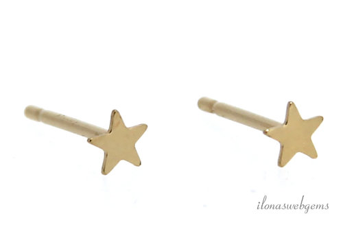 1 pair 14k/20 Gold filled ear studs star approx 3.5mm 3.5
