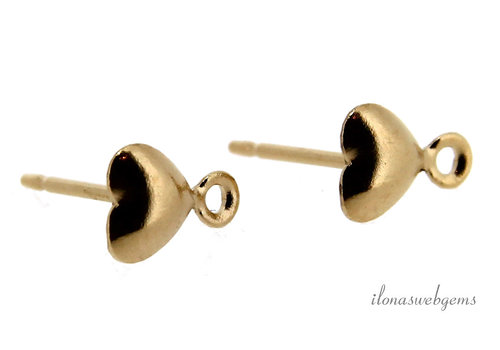 1 pair 14k/20 Gold filled ear studs heart with eye about 5mm