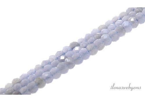Blue lace Agaat kralen rondel facet ca. 4x3mm