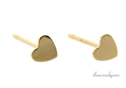 1 paar 14k/20 Gold filled oorstekers hartje minimalistisch ca. 3.5mm