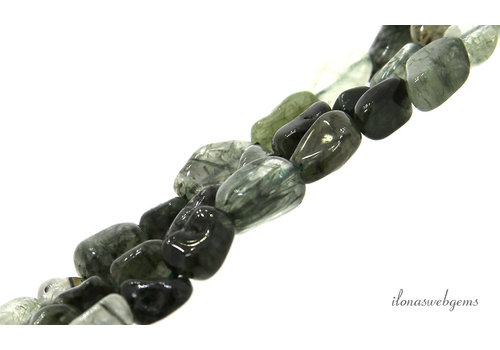 Moss agate beads nuggets about 10x5mm