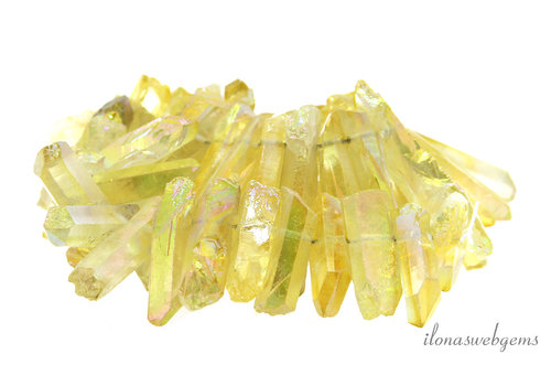 Rock crystal Obelisk beads up and down from approx. 22x9 to 43x8mm