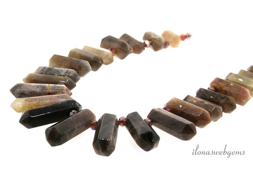 Moonstone Obelisk beads up and down from approx. 21x11 to 44x11mm