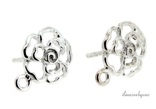 Sterling zilveren oorstekers bloem ca. 9x12x12mm