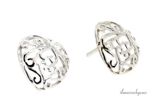 1 paar Sterling zilveren oorstekers hart ca. 12x11.5x14mm