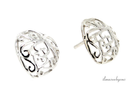 1 pair Sterling silver ear studs heart approx. 12x11.5x14mm
