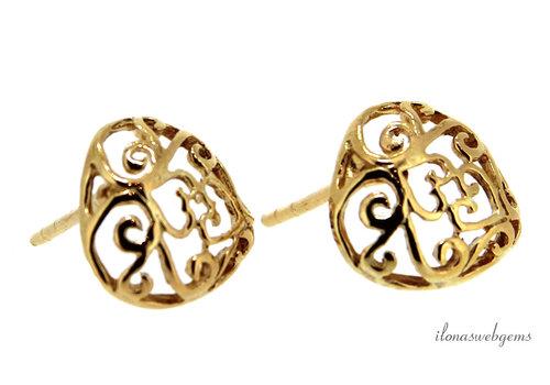 1 pair Vermeil 21 carat ear studs heart approx. 12x11.5x14mm
