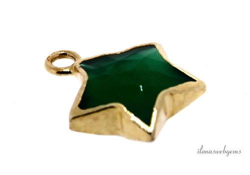Minimalistisch 18 krt Vermeil groene Onyx hanger ster ca. 13x10x4.5mm