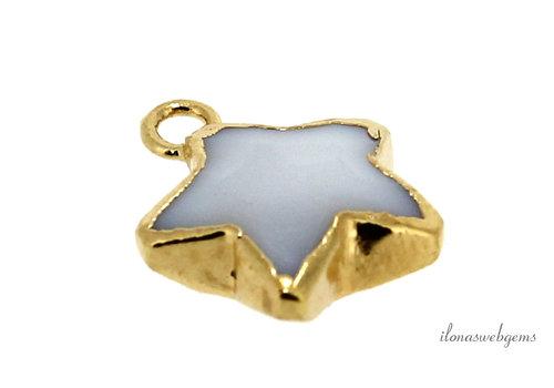 Minimalist 18 krt Vermeil white Jade pendant star approx. 12x10x4mm