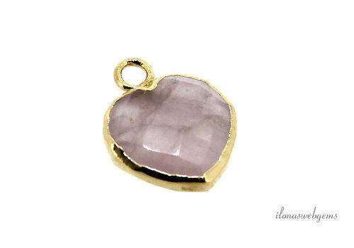 Minimalist 18 krt Vermeil Rose Quartz pendant heart about 12x10x4mm