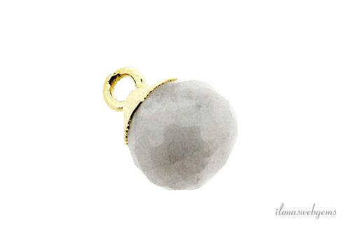 Minimalist 18 krt Vermeil Rainbow moonstone pendant round facet about 10x7mm