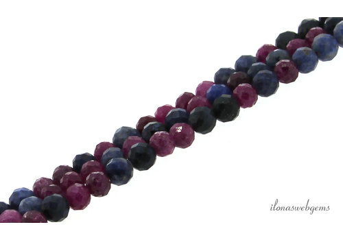 Sapphire and Ruby beads faceted around 4.5mm