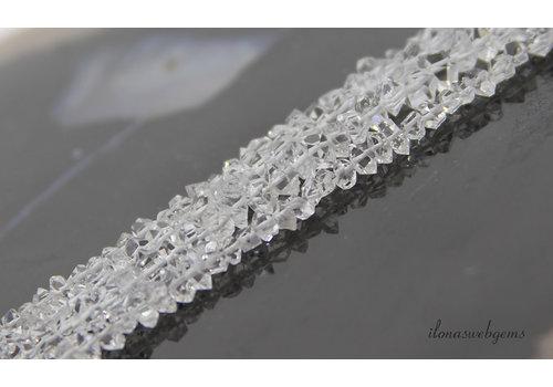 Herkimer Diamond kralen op -en aflopend van ca. 6x3 tot 8x3mm