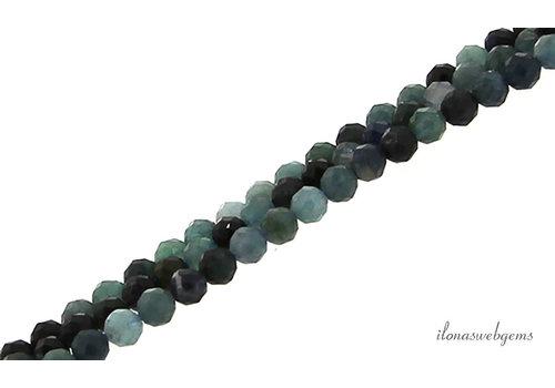 Blauwe Toermalijn kralen mini facet rond ca. 3mm