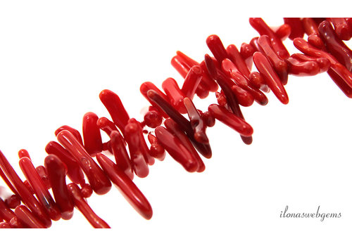 Coral beads red sticks about 21x4mm