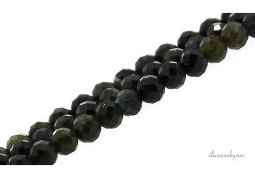 Groene Toermalijn kralen facet rond ca. 4.5mm