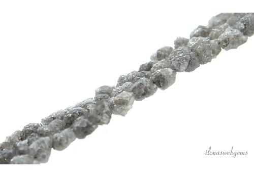 Diamant kralen silver white rough ca. 4.5x4mm