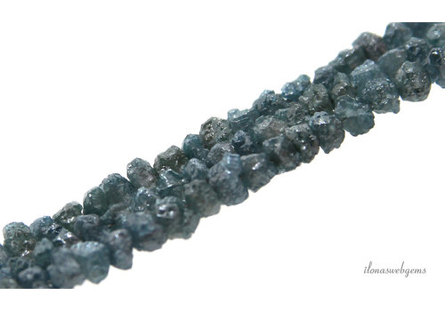 Diamant kralen blue rough ca. 4x2.5mm