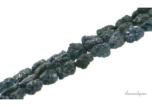 Diamant kralen Teal blue rough ca. 4.5x7mm