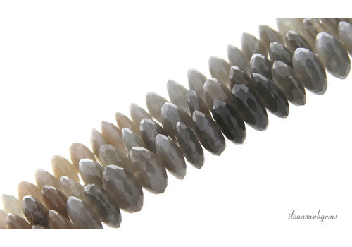 Gray Moonstone beads faceted roundel around 11x4mm