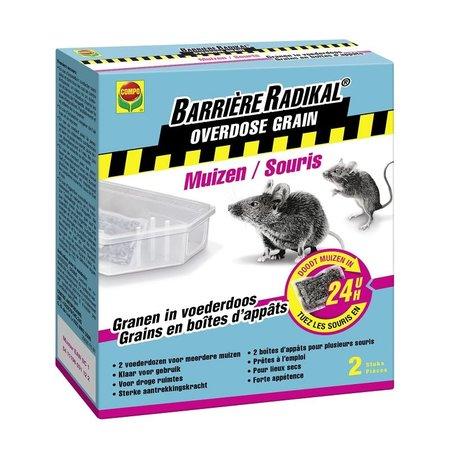 Barrière Radikal Overdose Grain Muizen 24H in Voederdoos (2 voederdozen met 10 g lokaas)