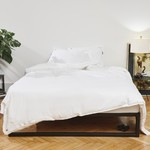 Four Leaves Four Leaves Bentota percale white with beige duvet cover