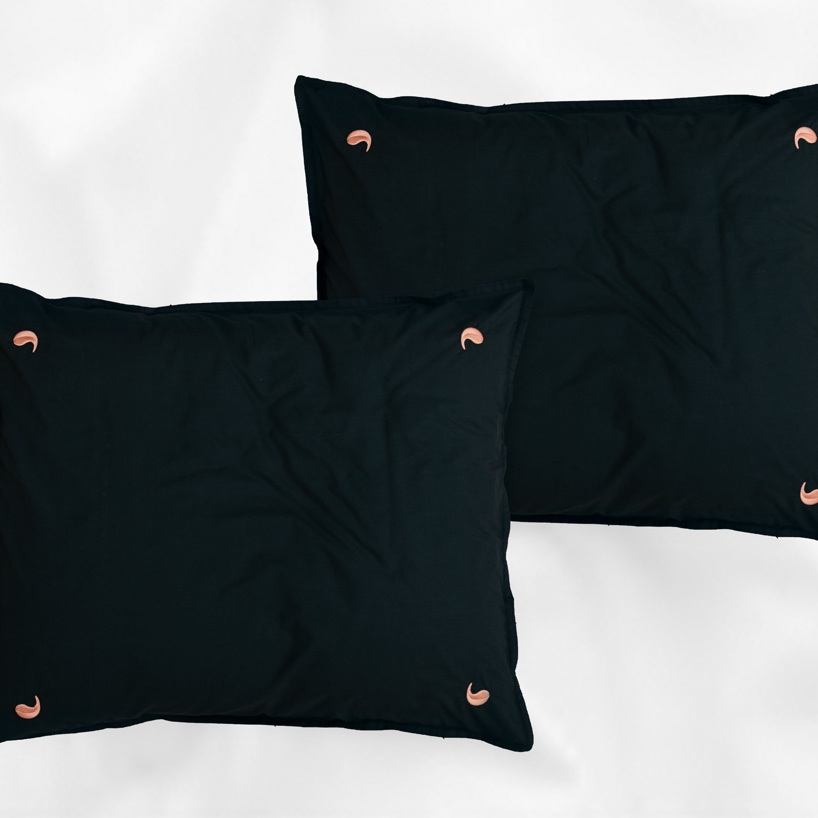 Four Leaves Four Leaves Namal Uyana percale dark green with pink leaves sustainable duvet cover