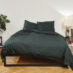 Four Leaves Four Leaves Namal Uyana percale dark green with pink duvet cover
