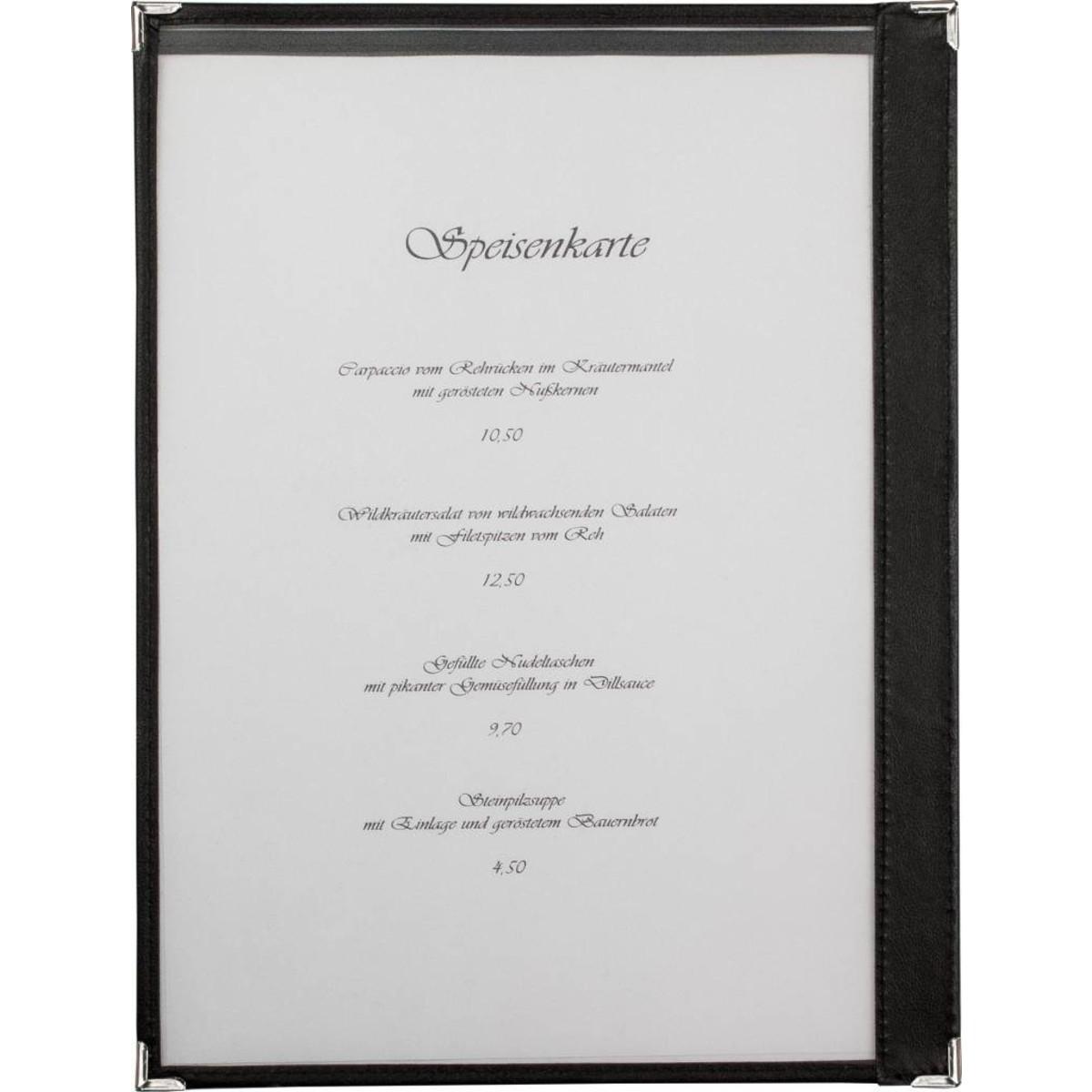 Amerik. Speisenkarte A4 mit 2 Fenster  schwarz, Ecken silber