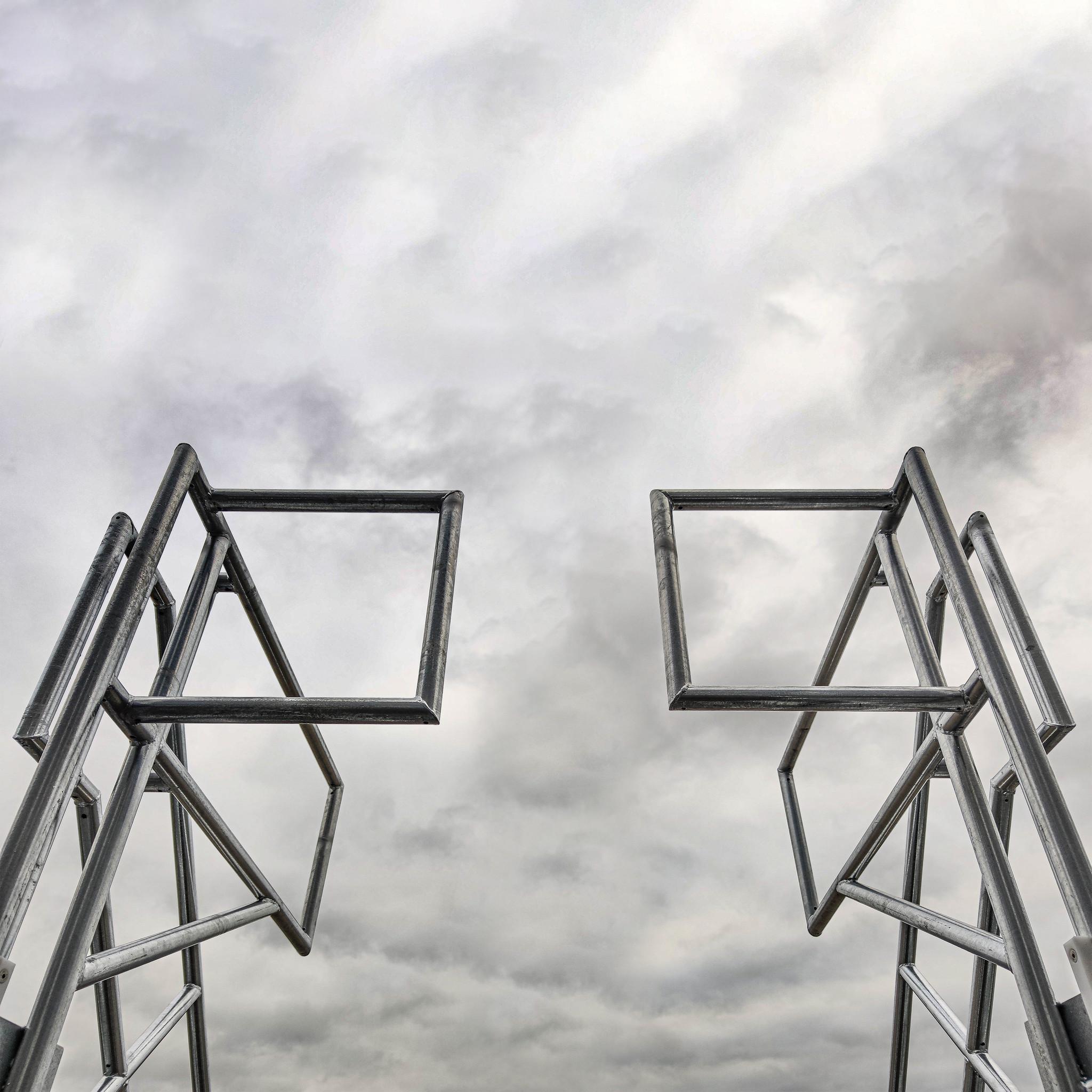 Stalen platformtrap