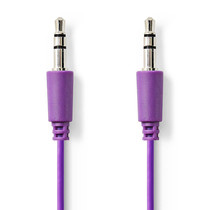 1 meter | Stereo audiokabel | 3,5 mm male - 3,5 mm male | Paars