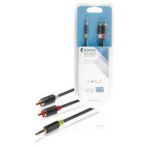0.5 Meter | Stereo-Audiokabel | 3,5 mm Male - 2x RCA Male | Zwart |  (Hoge Kwaliteit)