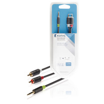 1 Meter | Stereo-Audiokabel | 3,5 mm Male - 2x RCA Male | Zwart |  (Hoge Kwaliteit)