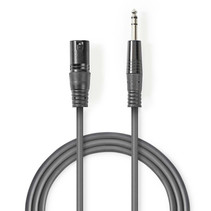 Gebalanceerde XLR Audiokabel XLR 3-pins Mannelijk - Jack AUX 6,35 mm Mannelijk 3 meter