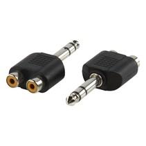 Jack 6.35 mm  naar 2x Tulp RCA Adapter - Stekker - Plug