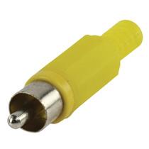 RCA plug met knikbescherming geel