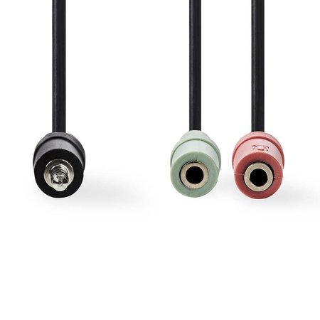 Nedis Adapter jack 3.5 mm stereo 4 polig - 2 x 3.5 mm vrouwelijk stereo