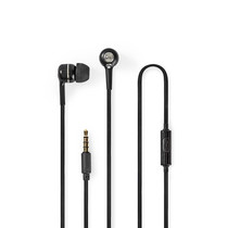 Wired Headphones | 1.2m Round Cable | In-Ear | Built-in Microphone | Black