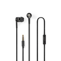 Wired Headphones   1.2m Round Cable   In-Ear   Built-in Microphone   Black