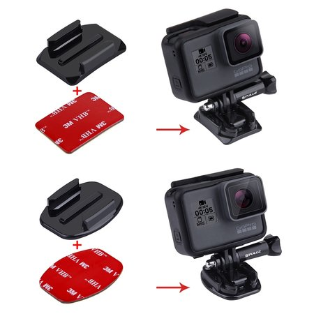 Puluz 3M Stickers + Mount voor GoPro - Action Camera's - 2x Curved + 2x Flat