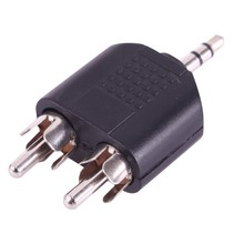 Jack 3.5 mm stereo - 2x RCA Tulp Male plug adapter