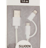 SWEEX 2 in 1 oplaad kabel 1 meter Wit Micro USB - Apple Lightning