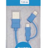 SWEEX iPhone oplader - Apple oplaad kabel 2 in 1 Micro USB en Lightning Blauw